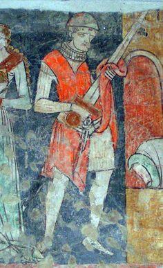 Fresco in Seckau Abbey, Seckau, Austria (1270) showing detail of gambesson underneath the outer garment.