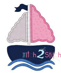 Girly Sail Boat  Applique Design by TheItch2Stitch