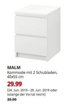 Ikea MALM – Kommode mit 2 Schubladen, Weiß – 40 x 55 cm