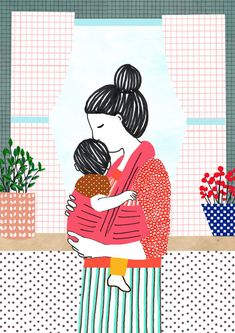 Illustration print Babywearing Size x cm) Printed on thick 300 gsm paper. Shipped in a protective plastic sleeve and stiff envelop with cardboard back to prevent folding. Art And Illustration, Illustrations, Baby Wallpaper, Watercolor Paintings, Art Paintings, Posca Art, Gsm Paper, Baby Art, Mother And Child