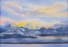 Gift of a New DayWatercolor Landscape Painting of a Colorado Sunrise on Village Lake outside of Pagosa Springs