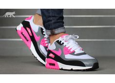 nike air max 90 gs hyper pink running womens trainers with striped sole