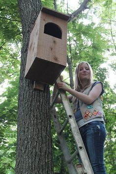 Rachel Jones built a barred owl house and installed it on the Gravette AR Wildlife Observation Trail.  Part of a Girl Scout Gold Award project.