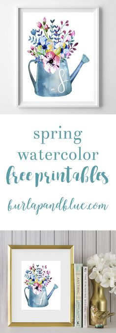 Spring watercolor free initial printables! Featuring a watercolor watering can and flowers, these spring printables are perfect as wall decor or a gift idea!
