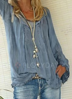 Blouses - $40.99 - Solid Polyester Round Neckline Long Sleeve Blouses (1645247135)