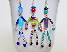 SIDEKICK little friend/man/person beaded bohemian OOAK blue/aqua pendant necklace/bracelet friendship gift/bridesmaid gift SusanRodebushArts Types Of Earrings, Stone Earrings, Beaded Earrings, Beaded Jewelry, Handmade Jewelry, Beaded Bracelets, Drop Earrings, Handmade Beads, Diy Boho Earrings