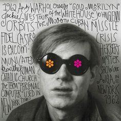 Andy Warhol by Jennifer Morla, The Swinging Sixties Pittsburgh, Andy Warhol Pop Art, Photo Repair, Street Culture, Cultura Pop, Famous Artists, Collages, 1960s Aesthetic, Marijuana Art