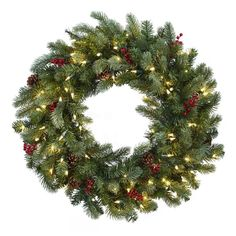 """Here's an awesome Christmas wreath that has everything. Featuring green fluffy pine (210 tips worth), faux pine cones, red berries and 100 clear lights, this wreath will adorn your holiday décor for years to come. It's a full 30"""", so it won't be missed by anyone. Plus, it'll never dry out, and will look great for holiday after holiday. Makes a fine gift too. Artificial Christmas Wreaths, Holiday Wreaths, Christmas Decorations, Winter Wreaths, Holiday Fun, Festive, Pre Lit Wreath, Lighted Wreaths, Door Wreaths"""