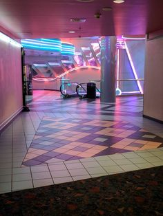 Snapped this at my local mall movie theater – retro Dead Malls, San Junipero, New Retro Wave, Retro Waves, Neon Aesthetic, Style Retro, Pink Walls, Neon Lighting, Movie Theater