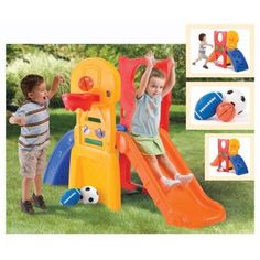 Outdoor Play Set Kids Step 2 All Star Sports Climber Slide Made in the Usa. Playground Equipment for Children to Have Fun. Shoot, toss, climb and kick - all in Toddler Jungle Gym, Toddler Playground, Backyard Playground, Toddler Toys, Playground Slide, Playground Ideas, Baby Toys, Children Toys, Baby Baby
