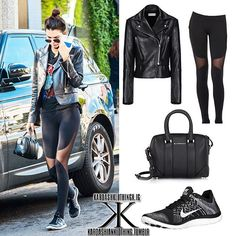 — @KendallJenner | LA | January 20, 2016  #KendallJenner wore a #Balenciaga 'Genuine Biker' Jacket, which you can purchase from balenciaga.com for $3,450  With a pair of @AloYoga 'Coast' Leggings, which you can purchase from #aloyoga.com for $94  She held #Givenchy 'Lucrezia' Micro Bag, which you can purchase from barneys.com for $1,295  With a pair of @Nike Free 4.0 Flyknit Sneakers, which you can purchase from #nike.com for $120
