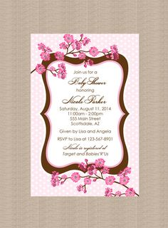 Cherry blossom baby shower invitations paperstyle megans baby cherry blossom baby shower invitation girl baby shower invitation personalized printable or printed invitations filmwisefo