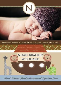 Noah's Ark Printable Photo Birth Announcement  or Christening Invitation
