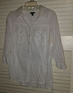 Womens Designer Fashion Web Plus Size 1X White Long Sleeve Button Down Blouse | eBay