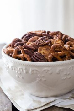 Sweet & Spicy Snack Mix Recipe. It comes together so quickly we've made several batches in the last week, even with a newborn in the house. Now that is seriously easy. Click through for recipe!