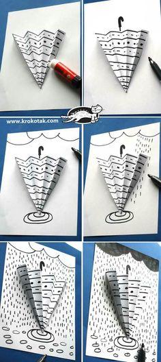 parapluie et graphisme - Art For Kids, Crafts For Kids, Arts And Crafts, Paper Crafts, Children Crafts, Kid Art, Classe D'art, 3rd Grade Art, Umbrella Art