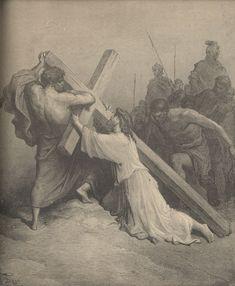 Jesus Falling Beneath the Cross - Paul Gustave Dore Gustave Dore, Bible Illustrations, Biblical Art, Classical Art, Wood Engraving, Sacred Art, Bible Art, Christian Art, Religious Art