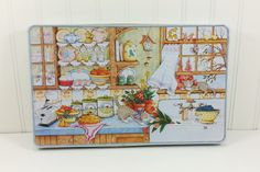 Mary Englebreit Decorative Tin, Country Kitchen Counter Cats Midwest Importers, Hong Kong by naturegirl22 on Etsy