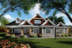 Ranch Style House Plan - 3 Beds 2.00 Baths 1983 Sq/Ft Plan #70-1418 Exterior - Front Elevation - Houseplans.com