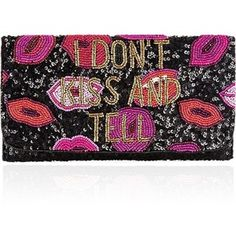 From St Xavier Kiss Embellished Clutch- Black/Red