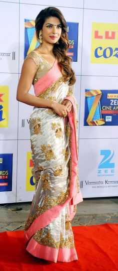 Pink gold and silver saree | Priyanka Chopra on the red carpet at the Zee Cine Awards 2014