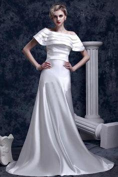 Gorgeous Empire Off-Shoulder Satin Chapel Train Wedding Dress WEM05142-TB - See…