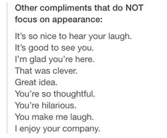 other compliments that do not focus on appearance