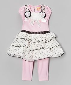 Look what I found on #zulily! Donita Pink Rosette Ruffle Dress & Leggings - Infant & Toddler by Donita #zulilyfinds