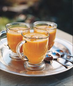 Apples & Squash Cream Style Soup. Love that these are served in a glass mug.