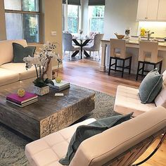 Organic luxe living room, styled with our Timber Coffee Table + Charlotte Side Chairs.  Photo via @firstimpressionhomestaging