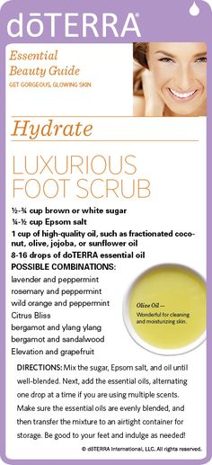 Recipe for luxurious foot scrub -I use only doTERRA's high-quality essential oils. To order, message me or shop here: https://www.mydoterra.com/ShoppingCart/index.cfm
