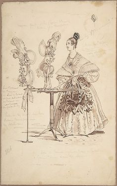 A French Milliner Costume Design.  Costume Design Pierre-Numa Bassaget, called Numa (French, 19th Century) Date: 1836–37 Medium: Pen and brown ink, pen and black ink, brush and brown wash, graphite Dimensions: 9 1/2 x 5 7/8 in. (24.2 x 15 cm) Classification: Drawings Credit Line: The Elisha Whittelsey Collection, The Elisha Whittelsey Fund, 1953 Accession Number: 53.664.37 The Met Museum
