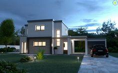 Vue extėrieure nuit - Maison individuelle // exterior night shot - Single house ---> ★ www. Garage House, 3 D, Mansions, House Styles, Home Decor, Courtyards, Virtual Tour, Terrace, Mansion Houses