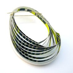 Lime green Paper and silver brooch by Clara Breen