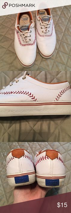 VINTAGE Ked's Championship Series Baseball Shoes Real Leather! Size 6.5 but runs small. Fits more like a 6 or 5.5. Very cute and in decent condition. Normal wear and tear. Too small for me sadly.  Keds Shoes Sneakers