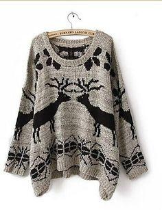 szary okrągły kołnierzyk ponadgabarytowych renifer swetry sweter damski 2081397 2016 – $18.99