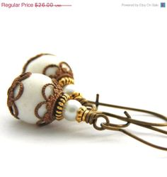 SALE Gold White Coral Earrings Antique Gold by JewelryByMagda, $20.80
