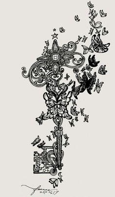 Ive loved keys forever, but ohmygod to a secret garden! Prev: 'key to the secret garden tattoo idea Borboleta Tattoo, Tattoo Dentelle, Body Art Tattoos, Tattoos Of Keys, Skeleton Key Tattoos, Tatoos, Girl Thigh Tattoos, Rosary Tattoos, Bow Tattoos