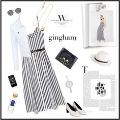 Check Republic: Gingham Dress♥♥♥ by marthalux on Polyvore featuring мода, MANGO, LE3NO, Kenzo, Alison Lou, DKNY, rag & bone, Casetify, Ray-Ban and Gucci