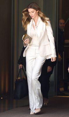 Gisele Bündchen White Pantsuit