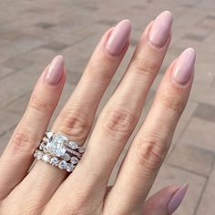32 Pretty mix and match pink nail art designs - Pretty nail colour stage of gorgeous rings #nails #diamondring