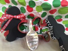 """Here's a fun way to wrap up a gift this year! I bought the gingerbread box at michaels and just painted it! Couldn't get any simpler than that?! Then I wrote """"fast as fast can be..."""" From the gingerbread man story! The spoon ornament was purchased from etsy!"""