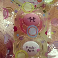 Monograms and names on AVENT pacifiers :)