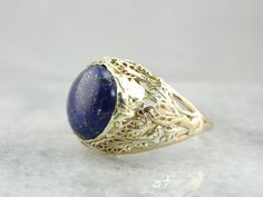 Natural Green Gold Filigree & Fine Lapis Ladies Ring with Rose