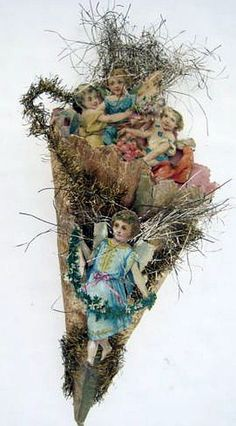 Antique christmas, cornucopia candy container, scraps, tinsel, angels.