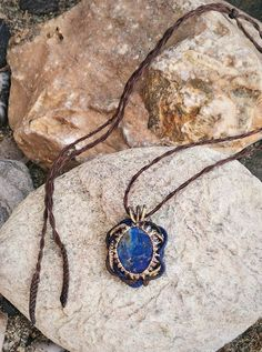 Micro Macrame Necklace,Lapis Lazuri Stone, Healing Stone Pendant, Macrame Pendant,  Bohemian Pendant, Gift for her, Friendship Gift, Elegant Bracelets For Boyfriend, Bracelets For Men, Wing Earrings, Simple Earrings, Handmade Bracelets, Earrings Handmade, Macrame Necklace, Friendship Gifts, Micro Macrame