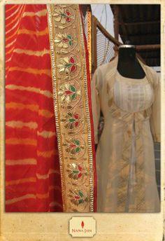 Naina Jain gota patti offwhite Anarkali Suit