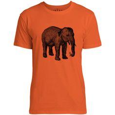Mintage Elephant with a Flower Mens Fine Jersey T-Shirt (Orange)