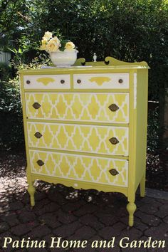 Moroccan Arches Allover Stencil and English Yellow & Old White Chalk Paint® on stenciled dresser | Patina Home and Garden | Royal Design Studio Stencils