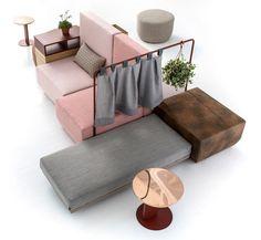 Canapé modulable avec rangements, tablettes, poufs, banquette, rideau... Bikini Island Landscape - Moroso